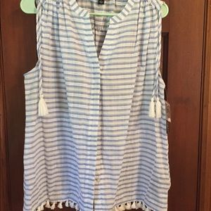 💜2 FOR $15💜 NEW blue and white sleeveless top